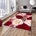 Altro Rosso Bianco Rose Fiori Floreale 3d Modello di Stampa Antiscivolo In Microfibra Soggiorno Decorativa Moderna Lavabile Zona Tappetini Zerbino