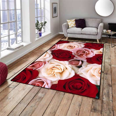 Else Red White Roses Flowers Floral 3d Pattern Print Non Slip Microfiber Living Room Decorative Modern Washable Area Rug Mat