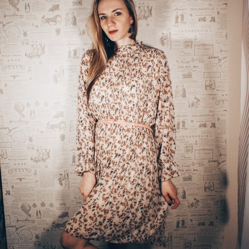 Two Layers Floral Chiffon Dress Elastic Waist Women Spring A Line Lace Up Flare Sleeve Bohemian Dress Femme Vestidos photo review