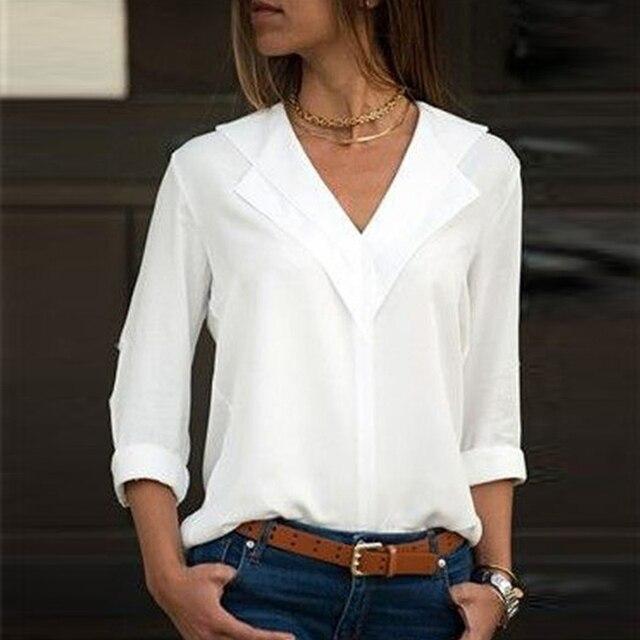 Blusa branca de Manga Longa Chiffon Blusa Com Decote Em V Duplo Mulheres Tops e Blusas Camisa Escritório Senhora Camisa Blusa Blusas Camisa Sólida