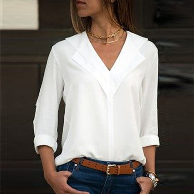 Белая блузка с длинным рукавом Шифоновая Блузка с двойным v-образным вырезом Женские топы и блузки однотонная офисная рубашка женские Блузка, рубашка Blusas Camisa