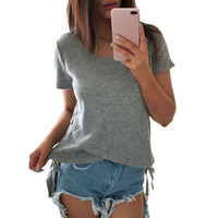 Women 2017 Front Short After Long Cardigan Stitching Fashion T Shirt Summer Side Cross Lace Up