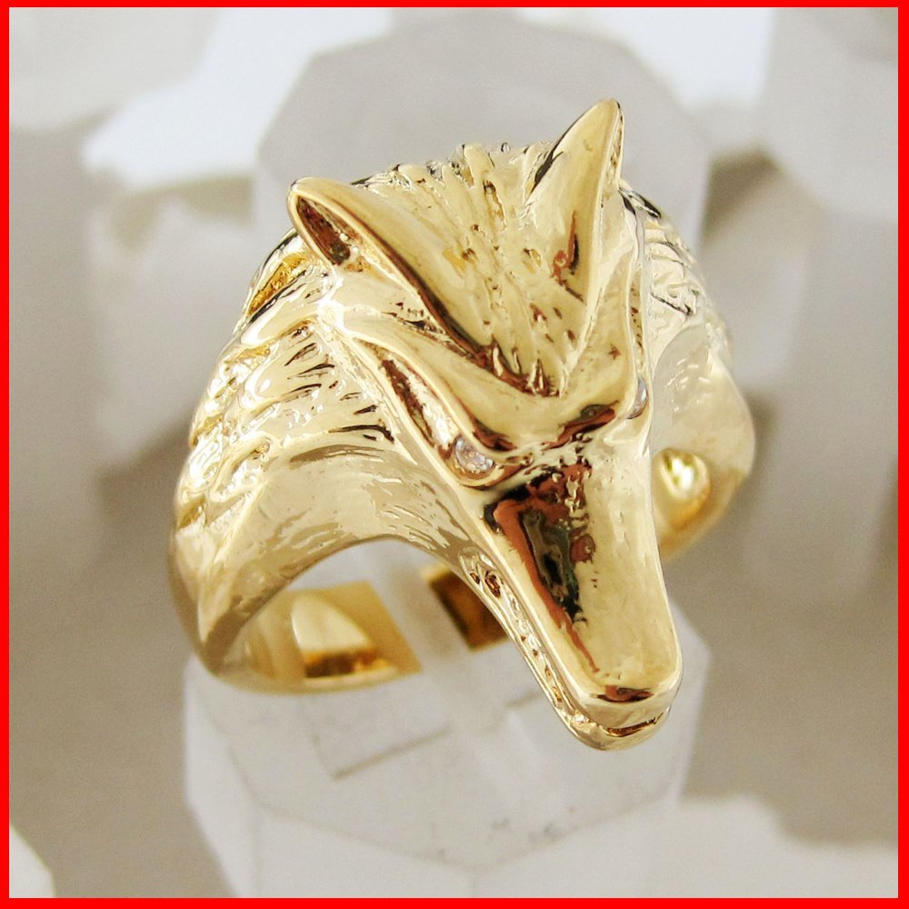 MIN ORDER 10$/CAN MIX DESIGN /NEW MEN LADY - YELLOW GOLD GP GEP OVERLAY FILLED BRASS WOLF HEAD RING SZ 8 9 10/GREAT GIFT/