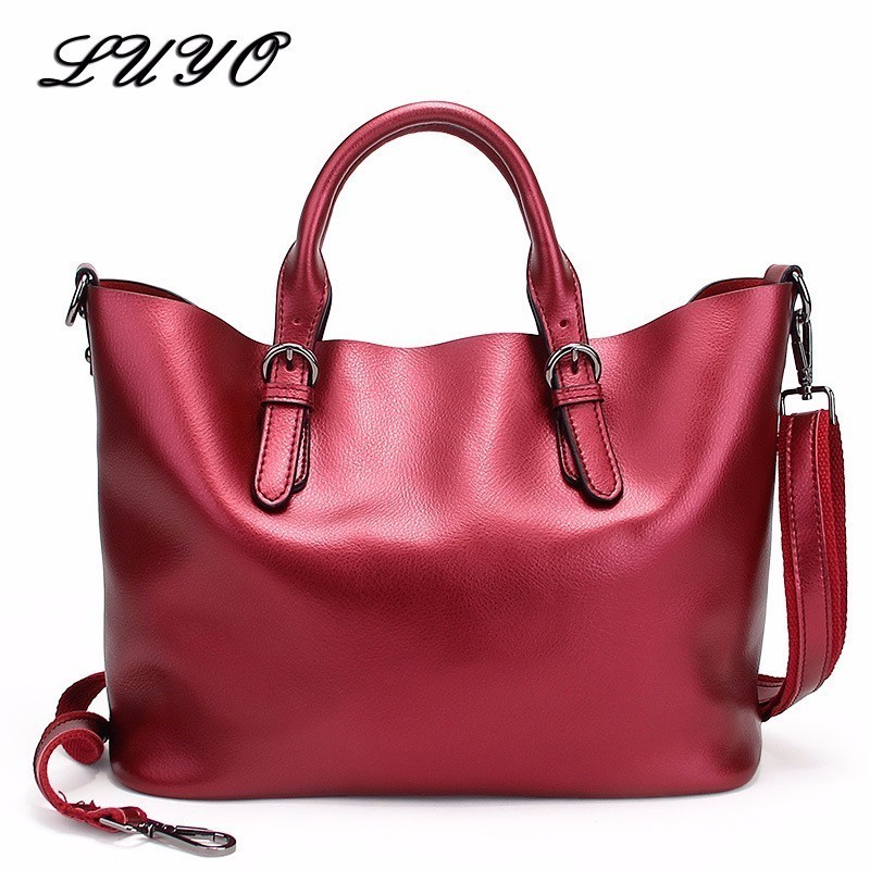 LUYO Brand Genuine Leather Bags Large Capacity Shopping Designer Handbags High Quality Tote Women Shoulder Bags Laptop Female instantarts large capacity women handbags high quality lady top handle bag tape print brand design shopping tote shoulder bags