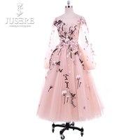 Винтажный, до середины икры Приём платье Цветы Вышивка с длинным рукавом Вечерние платья