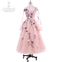 Jusere 2018 New Listing A Line O Neck Long Sleeves Tea Length Homecoming Dress See Through Appliques Short Graduation Gowns