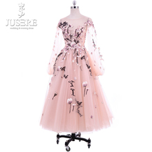 Vintage Tea Length Reception Dress Flowers Embroidery Long Sleeve Evening Dresses
