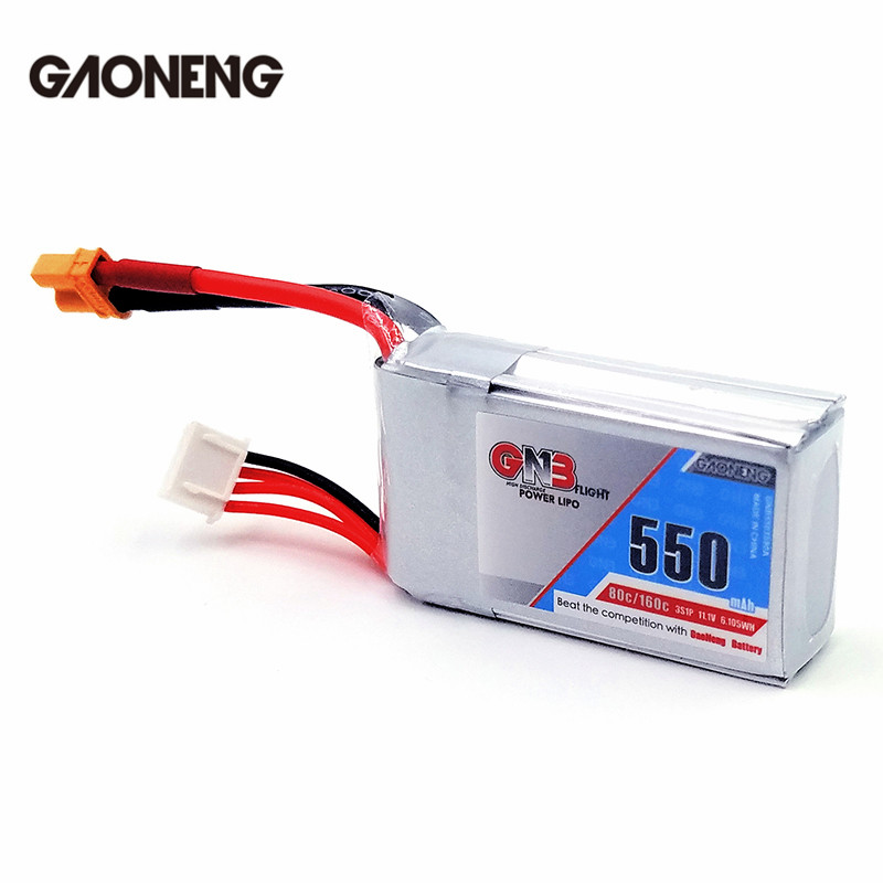 Gaoneng GNB 11.1V 550mAh 80/160C 3S Lipo Battery XT30 Plug For Eachine Lizard95 FPV Racer Racing Drone Spare Parts gaoneng gnb 11 1v 350mah 50c 100c 3s lipo battery jst xt30 plug connector for rc racing drone fpv quadcopter toy spare parts