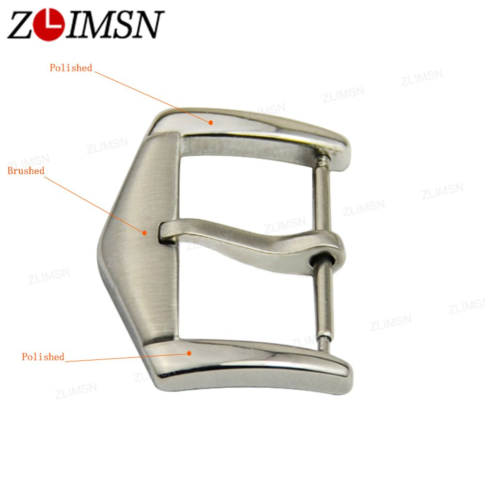 ZLIMSN 16 18 20 22mm Watch Button Solid Stainless Steel Watch Band Clasp Strap Belt Metal Buckles Watches Parts Relojes Hombre zlimsn watch band buckles stainless steel leather straps buckle watchbands 4 colors 16 18 20 22mm watches accessories