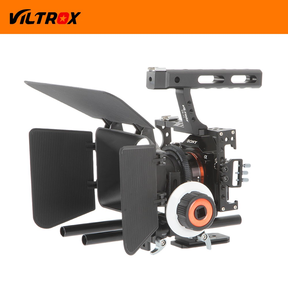 DSLR Video Film Stabilizer Kit 15mm Rod Rig Camera Cage+Handle Grip + Follow Focus + Matte Box for Sony A7SII A9 A6300 /GH4