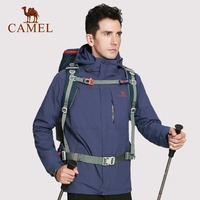 CAMEL Men Outdoor 3 in 1 Hiking Jacket Waterproof Breathable Thermal Windbreaker Hiking Camping Skiing Snowboard Jacket