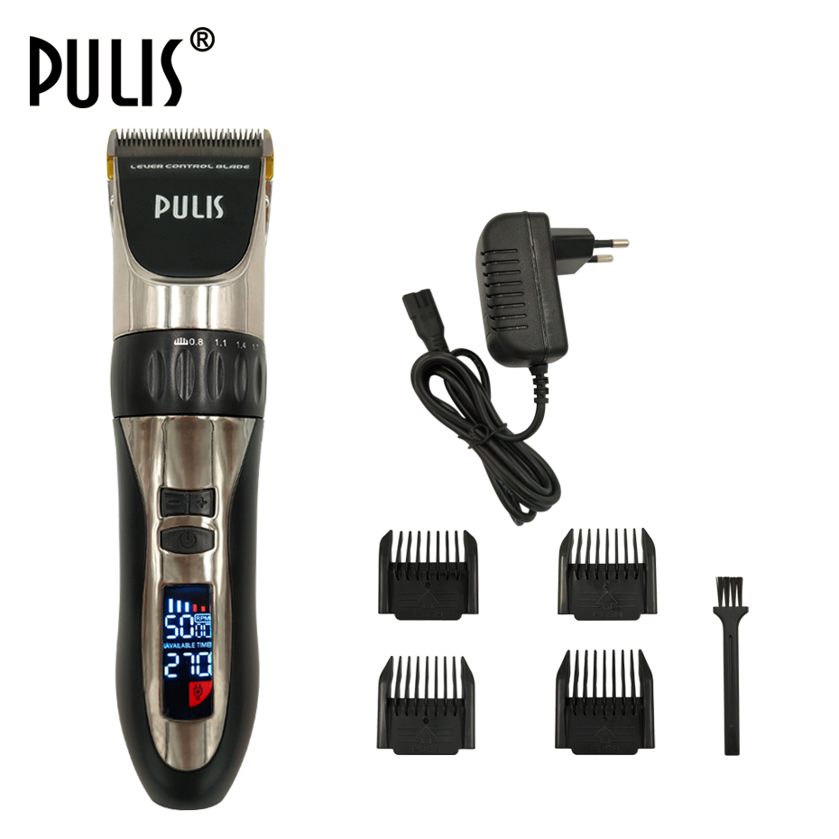 PULIS Professional Hair Clipper Electric Hair Trimmer LCD Display Global Rechargeable Haircut Machine 4 Limit Combs Barber Tool 2018 kemei hair clipper hair cutting kit groomer haircut machine hair styling tool barber shave clippers men trimer limit combs