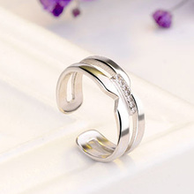 Crystal  Opening Rings Ladies Silver Plated Classic Bijoux Christmas Gift For Women jewelry