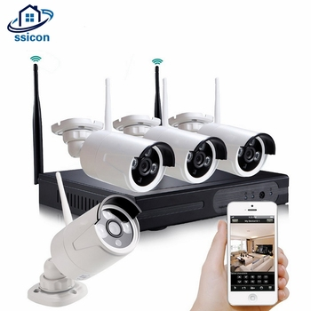 SSICON 4CH 960P Waterproof Outdoor Wireless Camera Kit 1.3MP 20M IR Distance Bullet Wifi Security Camera System Plug And Play