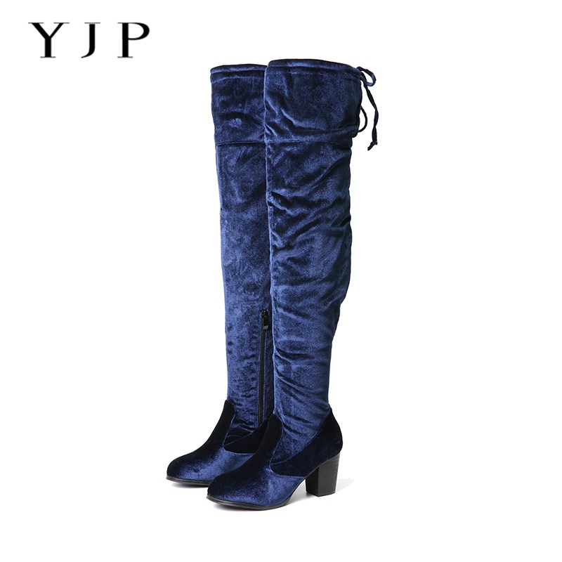YJP Women Thigh High Boots, Black/Blue Velvet Short Plush Winter Warm Boots, Ladies Sexy Over The Knee 6.5cm High Heels Shoes