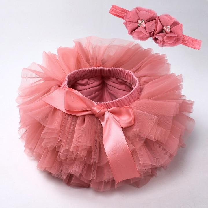 Юбка-пачка для маленьких девочек, комплект из 2 предметов, кружевные трусы из тюля, Одежда для новорожденных, Одежда для младенцев Mauv, повязка на голову с цветочным принтом, Детские сетчатые трусики - Цвет: watermelon