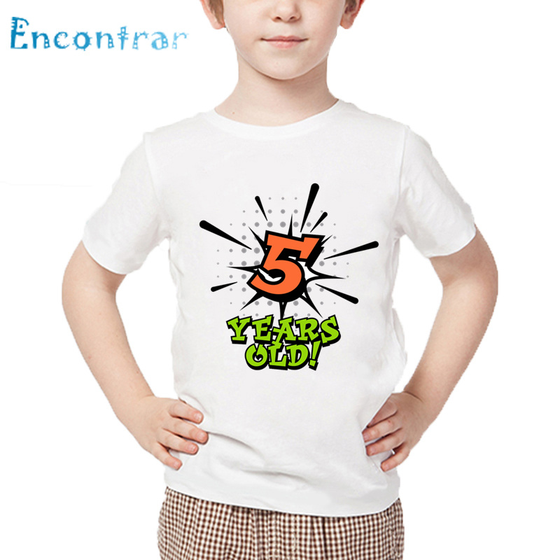 Birthday Boy Number 1-5 Letter Print Funny T shirt Kids Summer White Tops Baby Happy Birthday Gift Number T-shirt,HKP2434 number