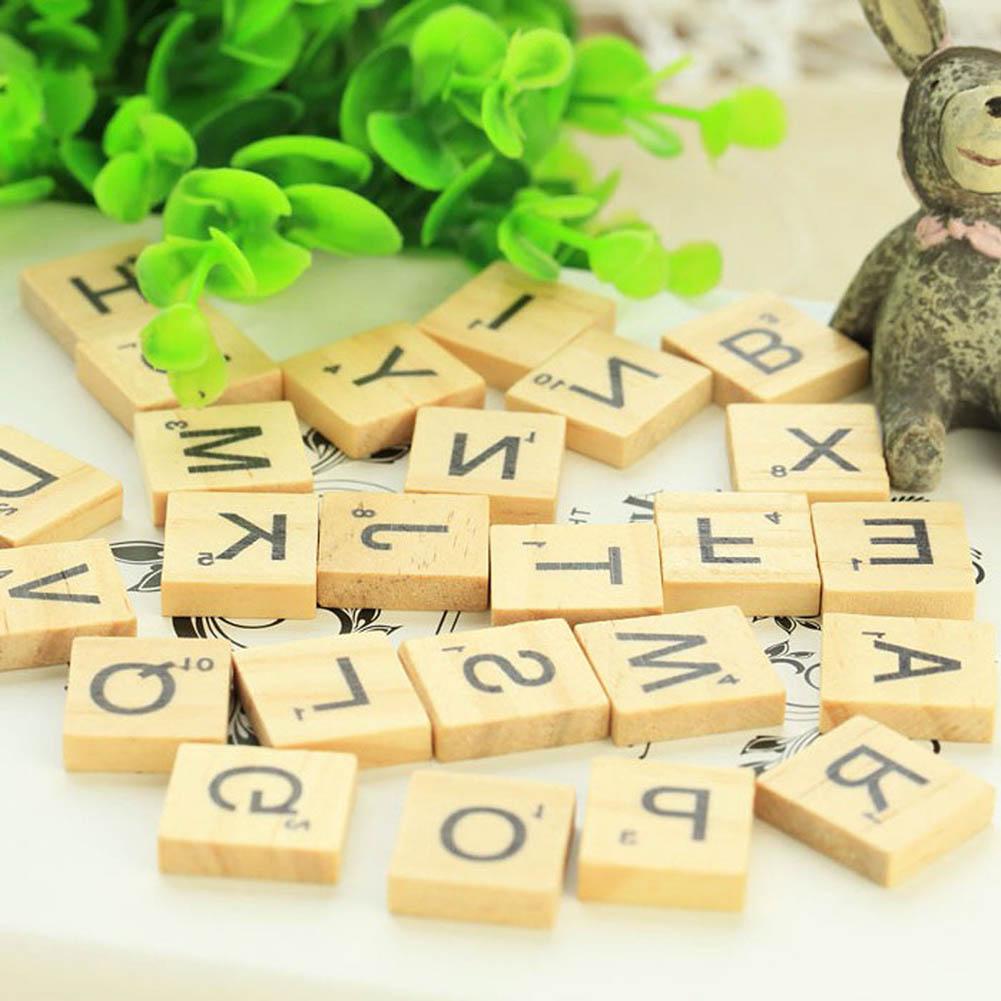 100Pcs/set Wooden Alphabet Scrabble Tiles Black Letters & Numbers For Crafts Wood