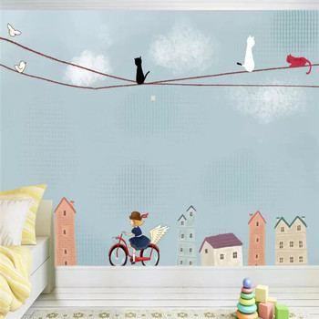 City cartoon children's room background wall professional production mural factory wholesale wallpaper mural poster photo wall hand painted color oil painting background wall professional production mural factory wholesale wallpaper poster photo wall
