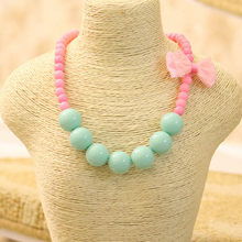 2018 Fashion Jewelry Beads Necklace Little Girl Baby Kids Princess Bubblegum Necklace For Party Dress Up Birthday Gifts(China)