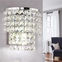 Modern Crystal led Wall Sconces Lamps Bedroom Living Room Bathroom Closet Wall Lamps Luxury E14 AC 110 260V Wall Light