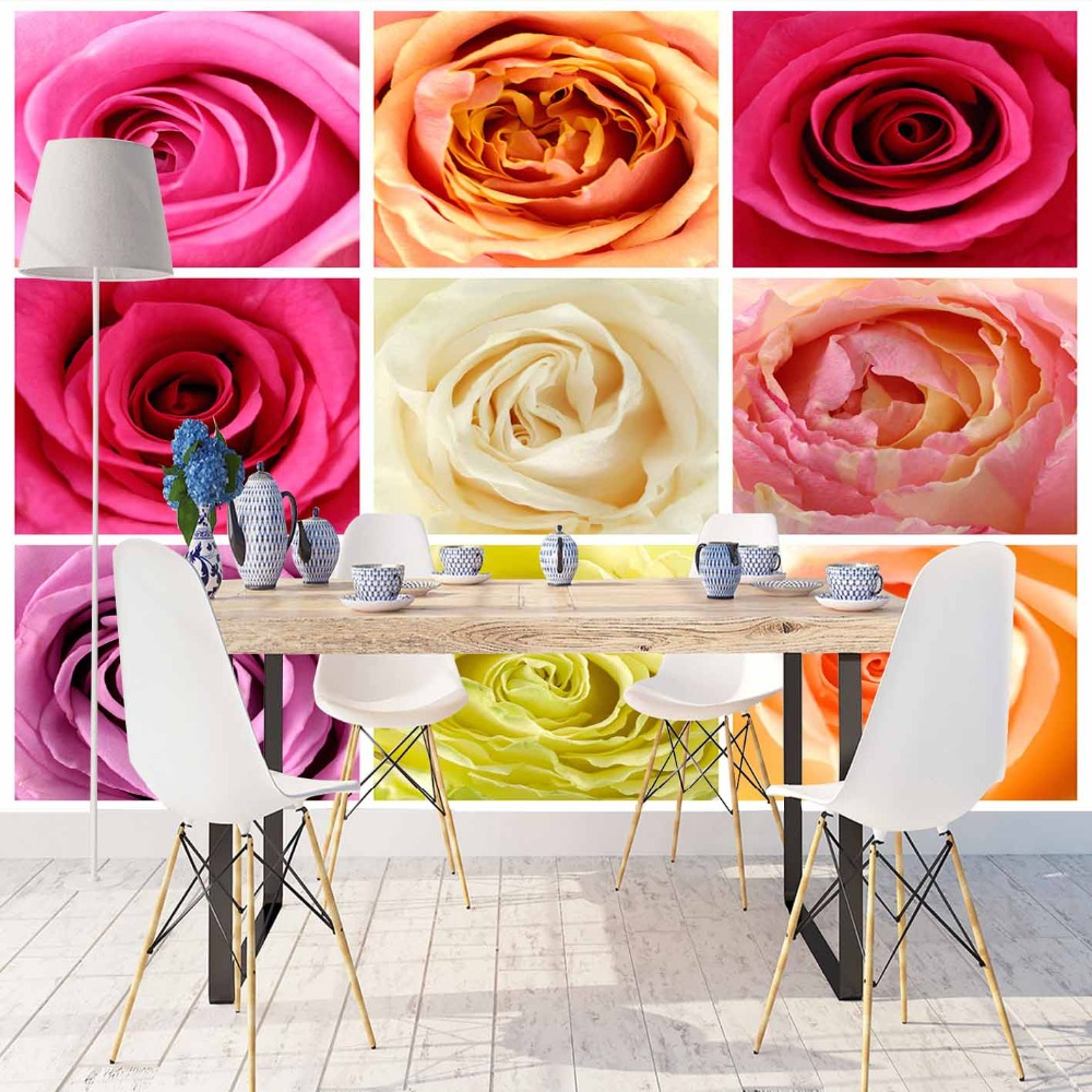 Else Cream Pink Red Green Roses Patchwork Flowers 3d Print Photo Cleanable Fabric Mural Home Decor Kitchen Background Wallpaper