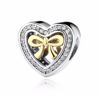 Openwork Heart  With Bow CZ 100% 925 Sterling Silver Charm Beads Fit Pandora  European Charms Bracelet Y