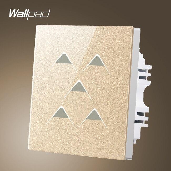 Accueil interrupteur de lumière Wallpad UK 5 Gang 1 voie 5 boutons or verre électrique écran tactile mur lumière interrupteur panneau, livraison gratuite
