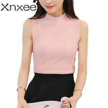 2018 The Korean version of the new spring and summer half knitted vest a slim sleeveless blouse shirt sling Xnxee