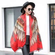 Podzimní a zimní nový dámsky bavlněný šátek peří vzor barvený šála šála žakáru