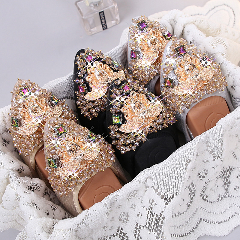 Big Size34-43 Designer Crystal Woman Flat Shoes Comfortable Lady Sequin Loafers Fashion Rhinestone Women Soft Bottom Shoes MA-54