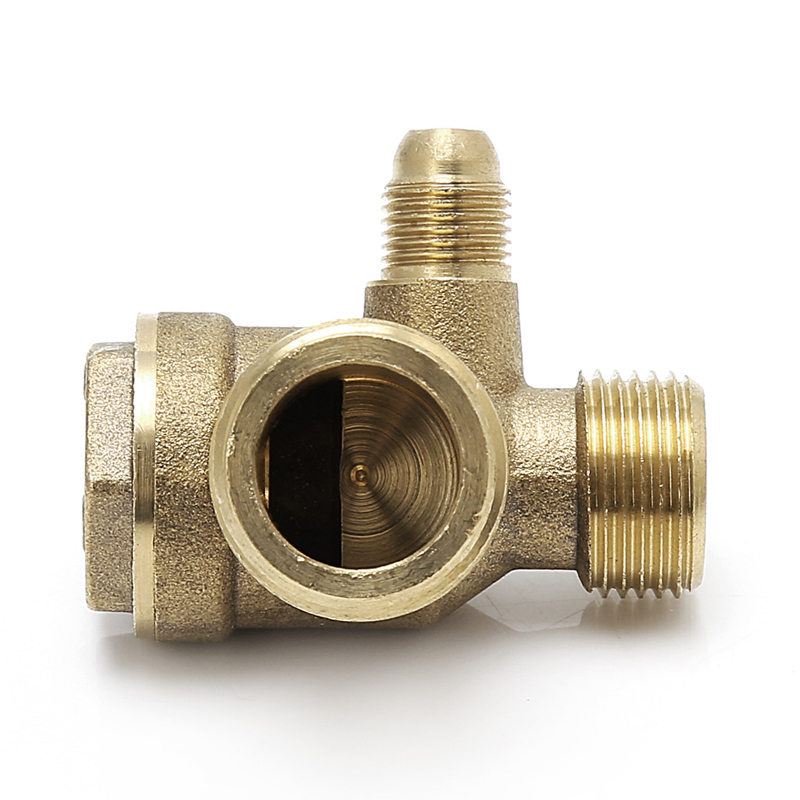 Male Thread 3 Way Metal Air Compressor Check Valve Gold Tone 1pc 13mm 16mm male thread metal water drain valve for air compressor