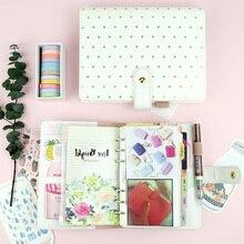 Yiwi красивый золотой волнистый спиральный белый ноутбук в горошек, A5 A6 размер, diy дневник с внутренним ядром, ежедневник, дневник, 2019