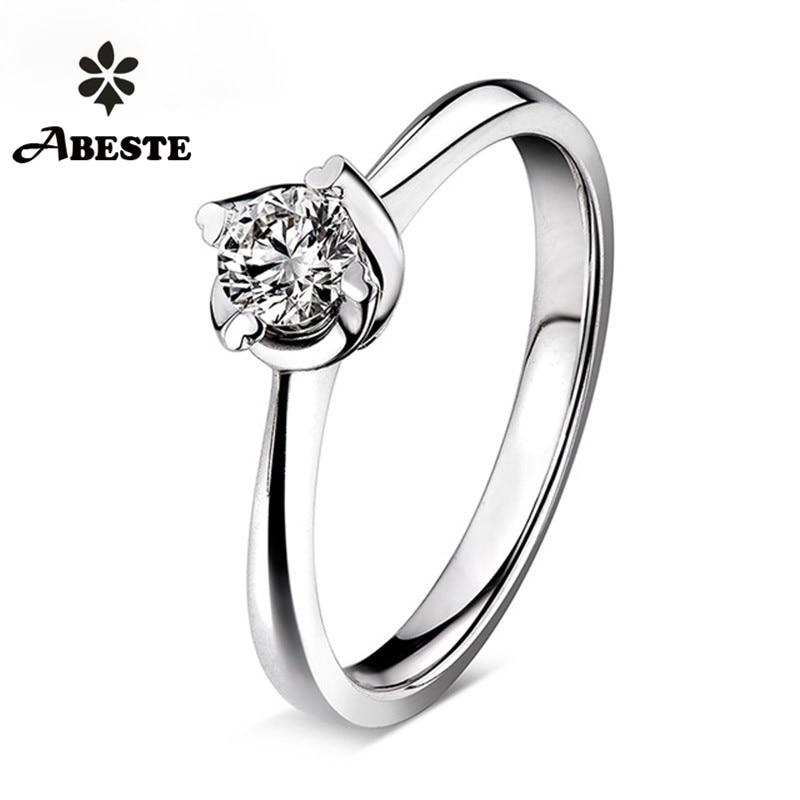 ANI 18K White Gold (AU750) Women Wedding Ring 0.1 CT Certified H/SI1 Solitiare Round Cut Real Diamond Ring anillos mujer Custom