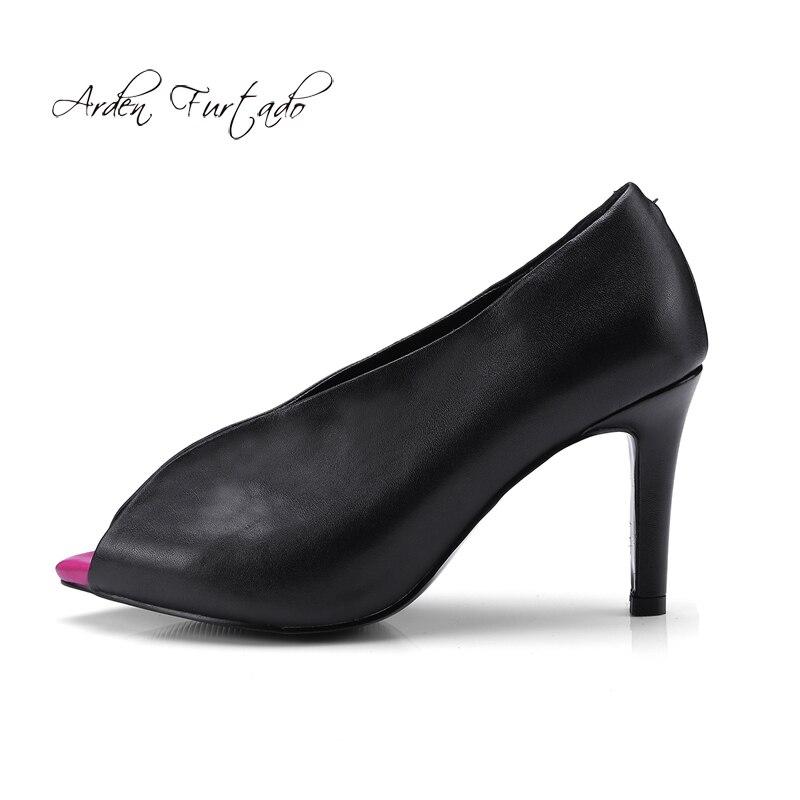 Bombea Suede Arden Señoras Cuero De Manera Señora Peep Rojo Del Genuino Los Leather Black 2018 Zapatos red black Vestido Mujer Estiletes Suede Oficina Toe Para Nuevo Las Furtado UrwxUqzI4