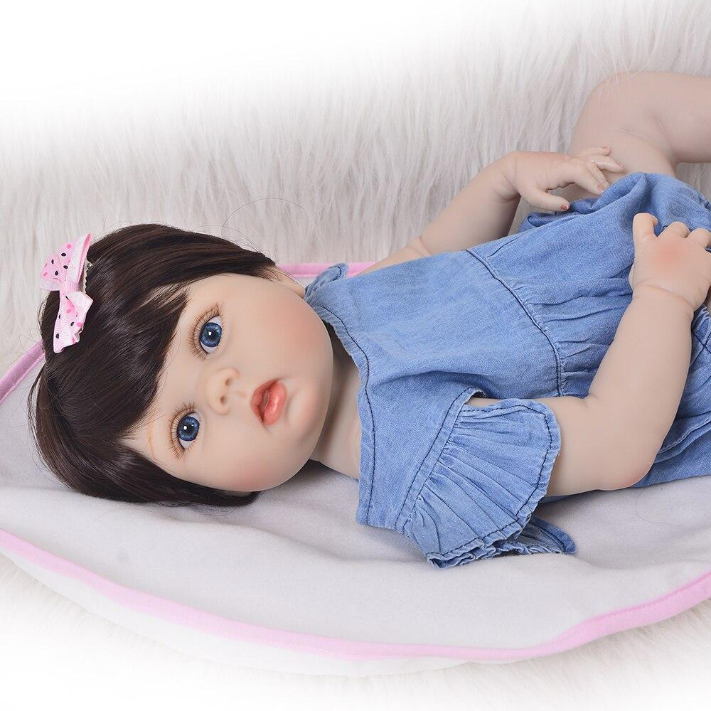 Image 5 - KEIUMI 23 Inch Full Body Silicone Reborn Baby Dolls Kid Playmates  Realistic 57cm Princess Doll Denim jumpsuit Reborn Boneca GiftDolls