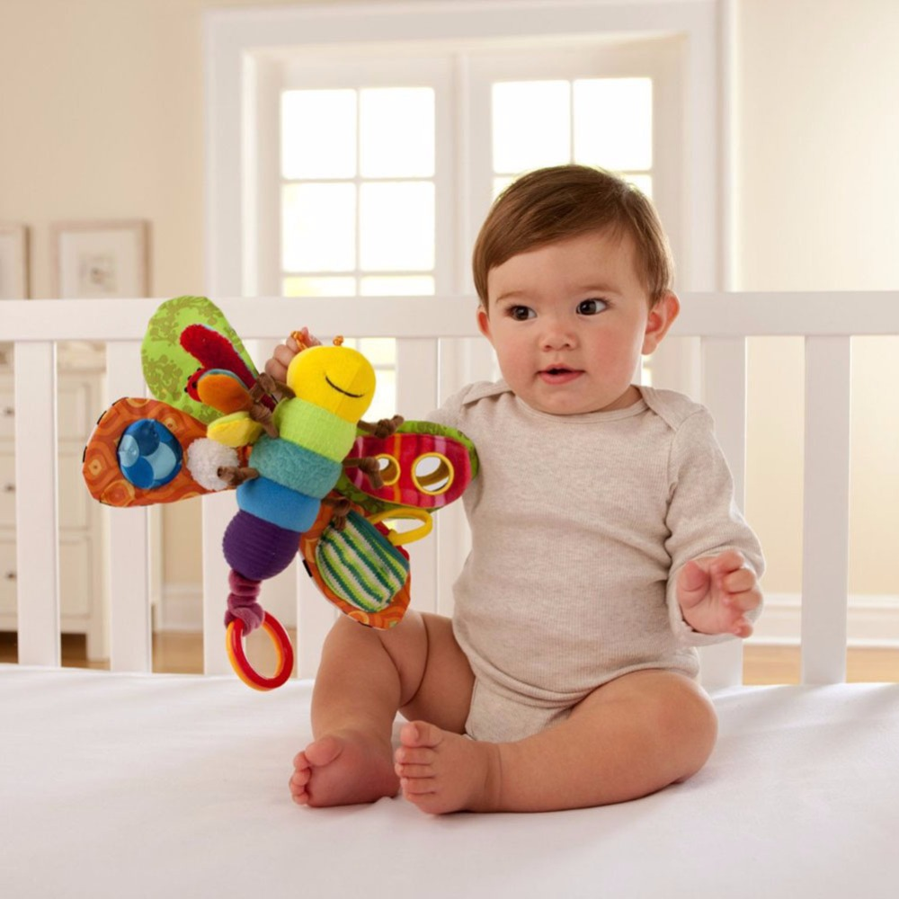 Firefly Rattle Toys Infant Kids Toys Butterfly Wrist Rattle Plush Doll Mobile Music Hanging With Teether And Clip For Girls Boys