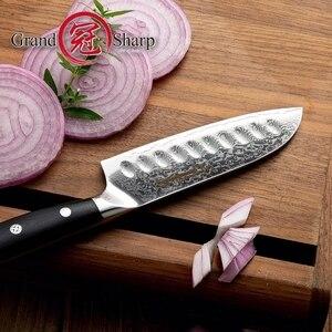 Image 2 - 5 インチ三徳ナイフ VG10 日本ダマスカスステンレス鋼 67 層日本人ダマスカス包丁プロのシェフのツール