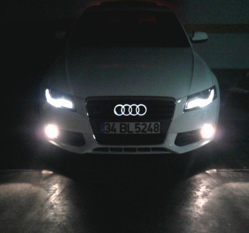 Newest Design LED White Color Light Logo Chrome Badge Emblem Front Grille For Audi A2 A3 A4 A5 A6 A7 Q3 Q5 Q7 Size: 288*99mm