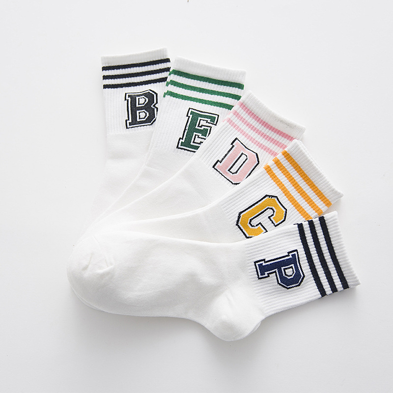 1 Pair White Fashion Letter Women Crew   Socks   Harajuku Letter B/C/D/E/P 3 Stripes Funny Women Casual   Socks