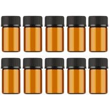 Aihogard 10 unids/lote 1ml/2ml/3ml Mini vidrio ámbar reactivos de aceite esencial botella de muestra rellenable viales de vidrio marrón con tapa