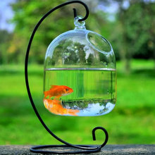 Clear Hanging Glass Aquarium Fishbowl Fish Tank Flower Plant Vase Handmade Decor Hanging Bowl Home Wall Decor without Hanger new hanging flower pot glass ball wall vase terrarium wall fish tank aquarium container home decor vases