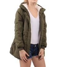2017 новейшие модные В армейском стиле; зеленый цвет Леди с длинным рукавом с капюшоном ласточкин хвост куртка на подкладке из хлопка Casua
