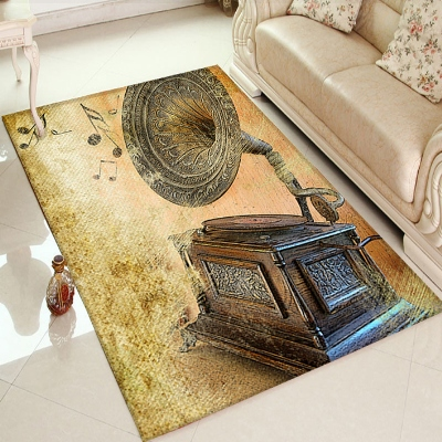 Else Gramophone Music Yellow Brown Retro 3d Print Non Slip Microfiber Living Room Decorative Modern Washable Area Rug Mat