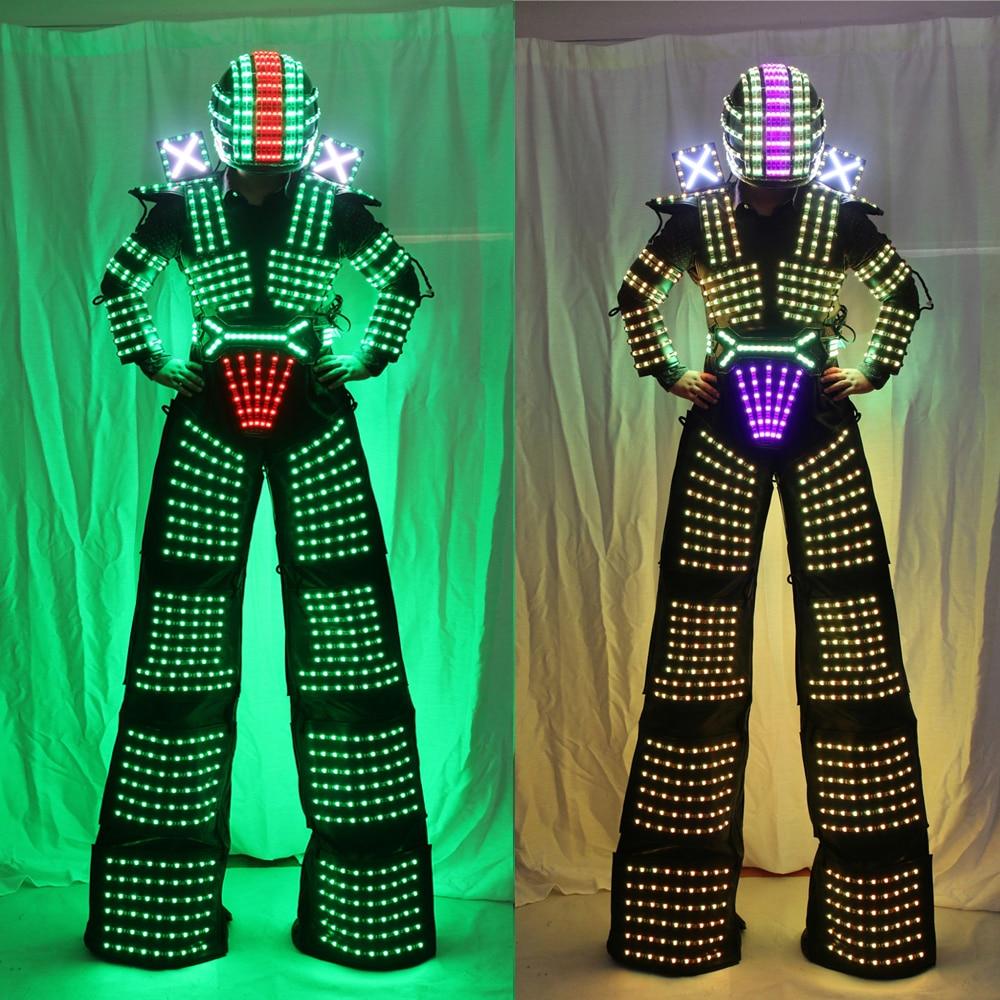 LED Robot Costume David Guetta LED Robot Suit illuminated Kryoman Robot Stilts Clothes Luminous Costumes