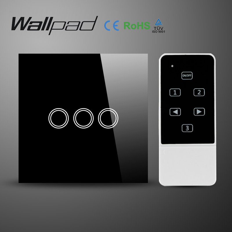 Wallpad UK Standard Smart Home Black Touch screen Light Switch with RF Remote 3 Gang Crystal Tempered Glass Panel Wall Switch smart home uk 1 gang 1 way crystal glass panel smart remote switch 220v touch screen light switch remote switch with controller