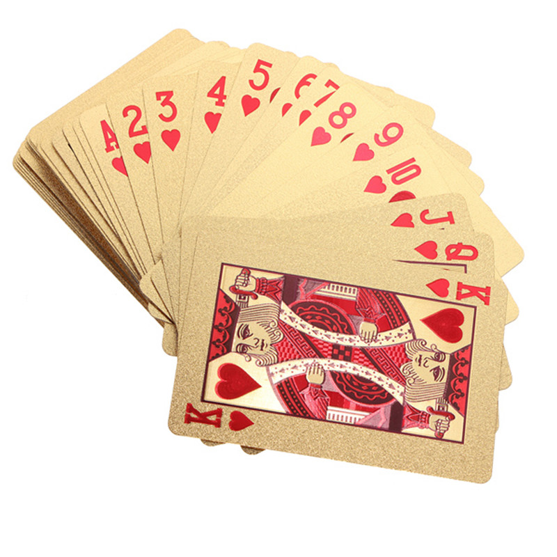 Best Deal 24K Gold Foil Plated Poker Playing Cards Collection Box EURO Dollar/Genreal Style For Entetainment Gift
