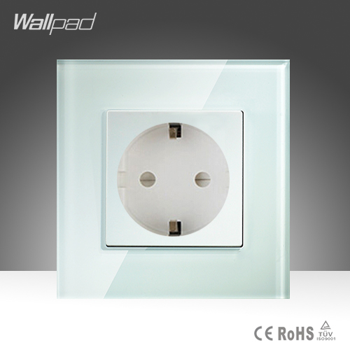 16A EU Socket Wallpad White Crystal Glass EU European German Standard Wall Socket Free Shipping 15a 16a south africa socket and double ubs socket wallpad 146 86mm white glass 2 usb ports and 16a sa switched socket with led