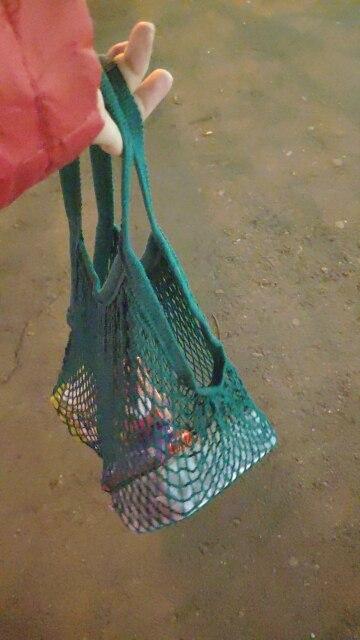 2019 Nieuw Herbruikbaar String Winkelen Boodschappentas Shopper Tote Mesh Net Geweven Katoen Fruit Opslag Handtas Bakken Dropshipping photo review
