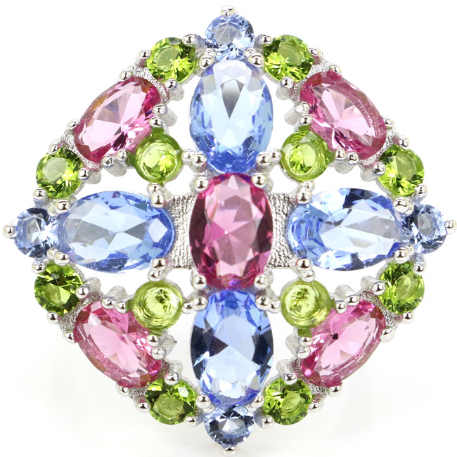 6 0g Real 925 Solid Sterling Silver Colorful Tourmaline Peridot Tanzanite Rings US sz 9 27x27mm in Rings from Jewelry Accessories